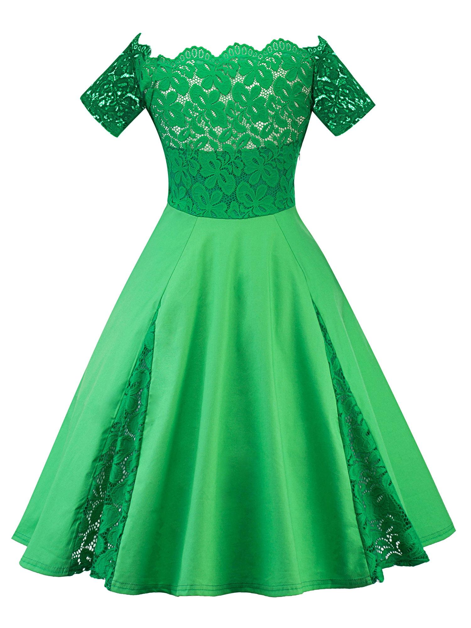 Vintage Women 50s Rockabilly Lace Off Shoulder Evening Party Prom Swing Dress