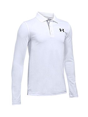 8c52fc553 Product Image Under Armour Boys' Match Play Long Sleeve Polo, White/True  Gray Heather,
