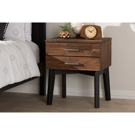 Baxton Studio Selena Mid-Century Modern Brown Wood 2-Drawer Nightstand