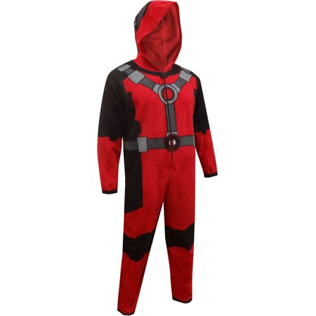 Marvel Comics Deadpool Hooded Fleece Union Suit - Deadpool Costume Pattern