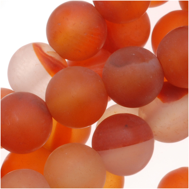 Matte Red Orange Agate Round Gemstone Beads 6mm (15.5 Inch Strand)