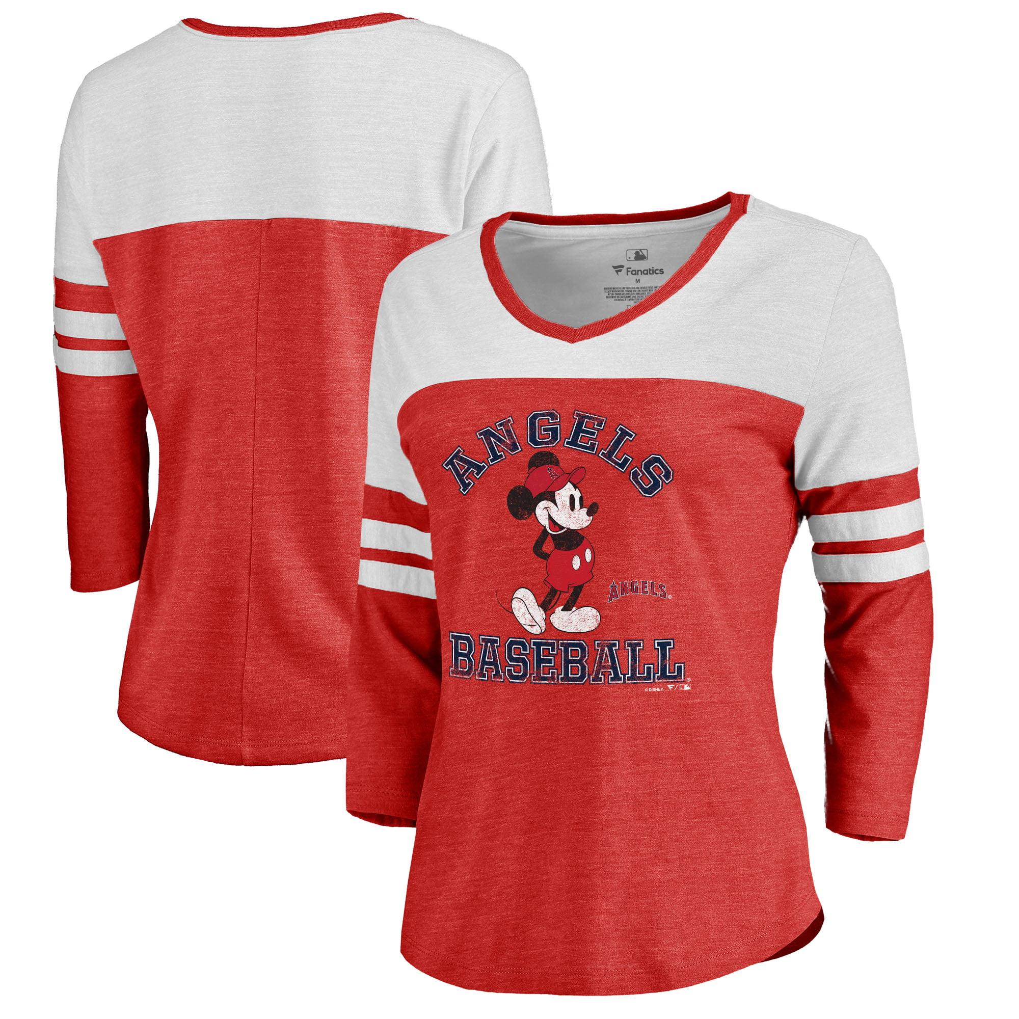 Los Angeles Angels Fanatics Branded Women's Disney MLB Tradition Three-Quarter Sleeve Tri-Blend T-Shirt - Red