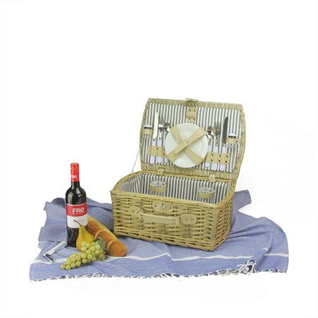 2-Person Hand Woven Warm Gray and Natural Willow Picnic Basket Set with Accessories - image 2 of 2
