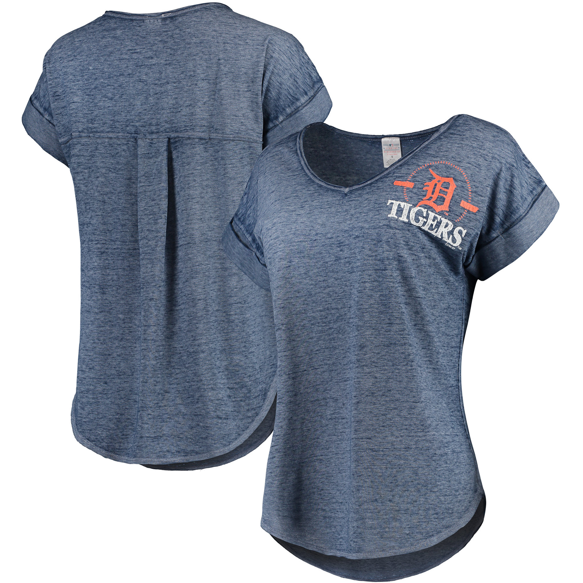Women's Concepts Sport Heathered Navy Detroit Tigers Crosspoint T-Shirt