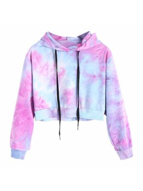 22a01e9e Product Image Women Autumn Winter Water Color Hoodies Multicolor Long  Sleeve Hooded Cropped Sweatshirt Drawstring Fashion Pullover Tie