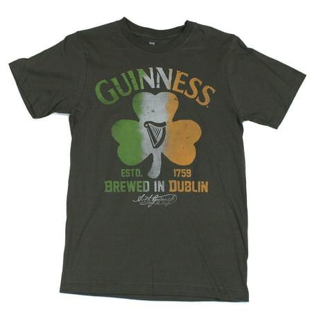 Guinness Beer Mens T-Shirt - Distressed Irish Colored Shamrock Image