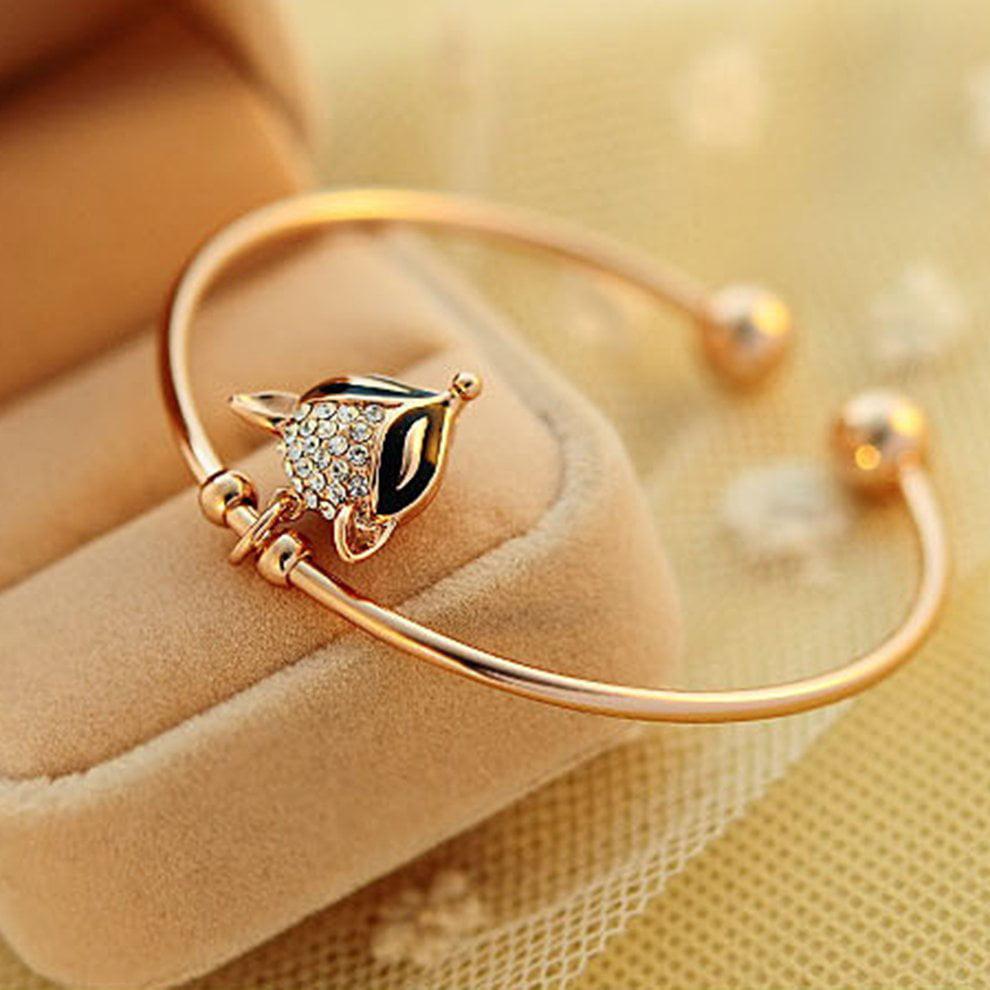 Retro Crystal Rose Gold Bracelet Korean Cute Flash Diamond Fox Bracelet GN