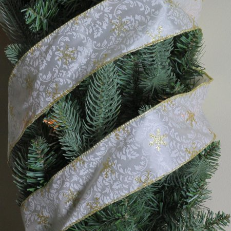 "Twinkling Gold Snowflake Printed White Wired Christmas Craft Ribbon 2.5"" x 10 Yards - image 1 de 2"
