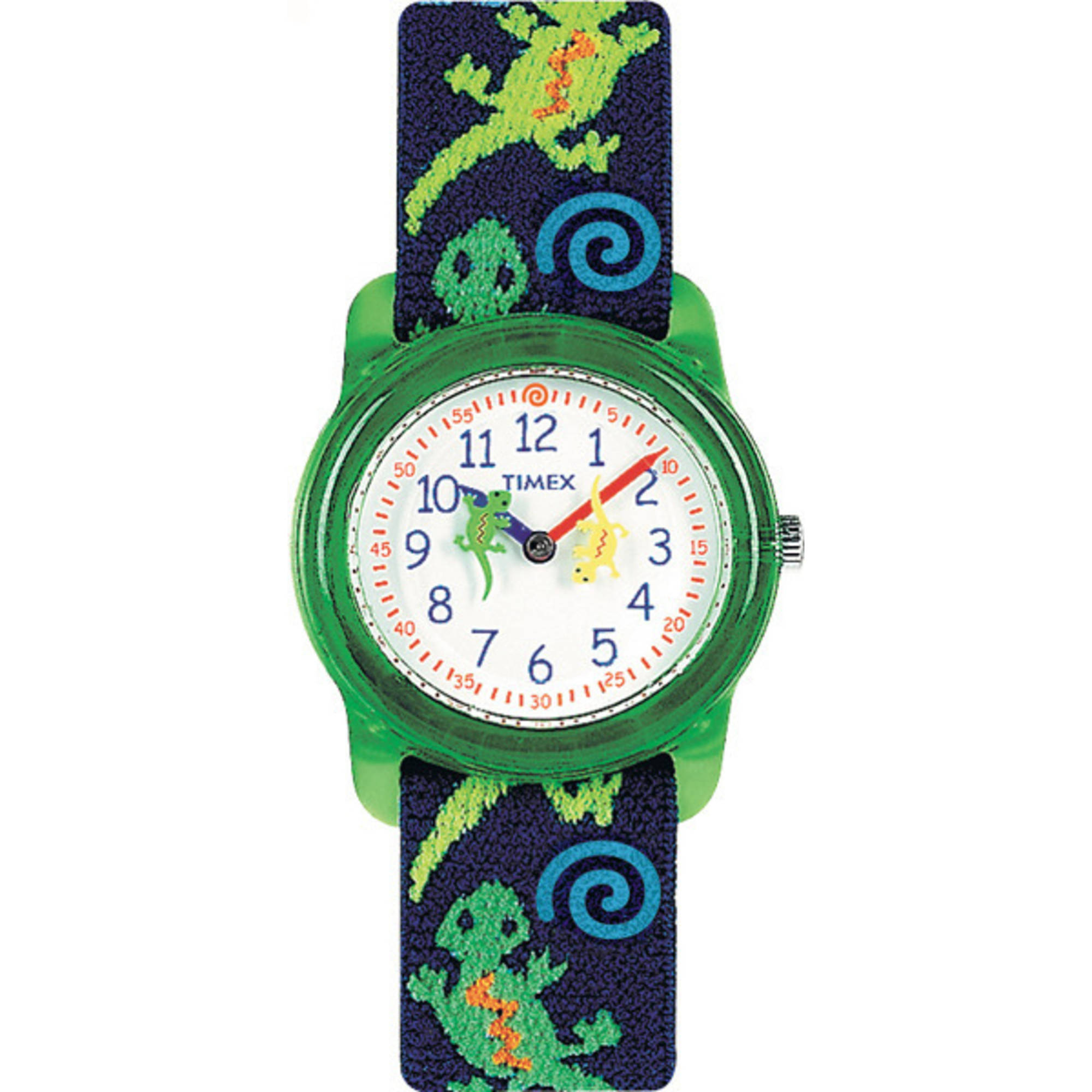 Timex Kids' Green Gecko Analog Watch, Elastic Fabric Strap