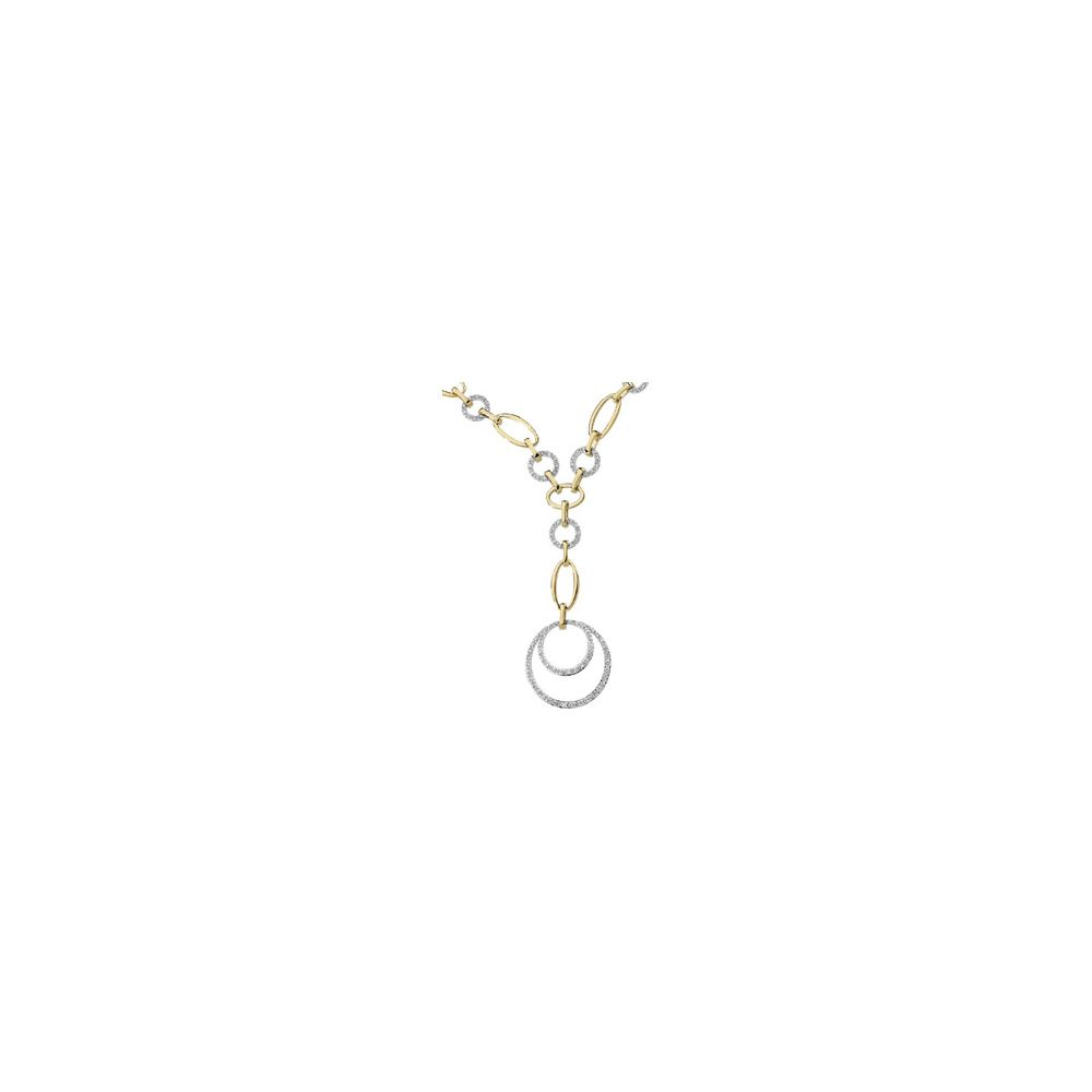 14k Two-Tone Gold Diamond Necklace 5 8ct by