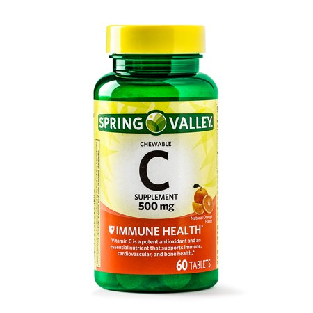 (2 Pack) Spring Valley Vitamin C Chewable Tablets, 500 mg, 60 Ct