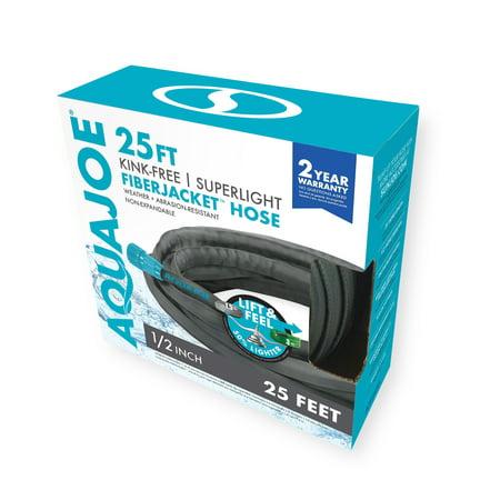 Aqua Joe AJFJH25 Ultra Flexible Kink Free Fiberjacket Garden Hose | 25-Foot