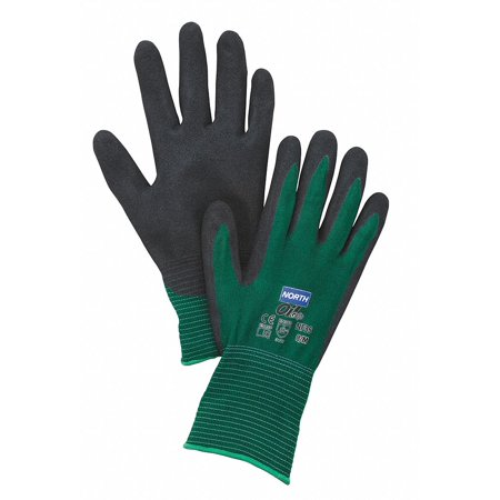 North NF35/11XXL 2X NorthFlex Oil Grip 13 Gauge Cut Resistant Black Nitrile Palm Coated Work Gloves With Dark Green Seamless Nylon Liner And Knit Wrist (12/PR)