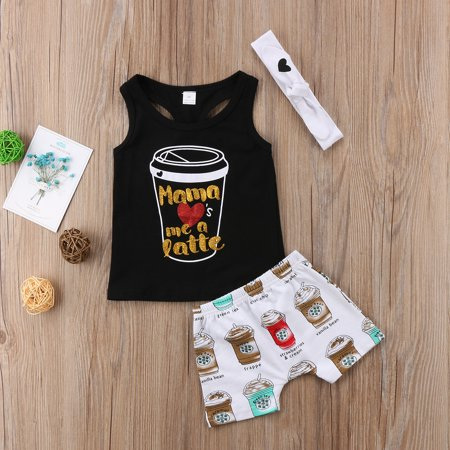 - Toddler Baby Girl Glitter Letters Print Sleeveless T-Shirt Top Shorts With Headband Outfit