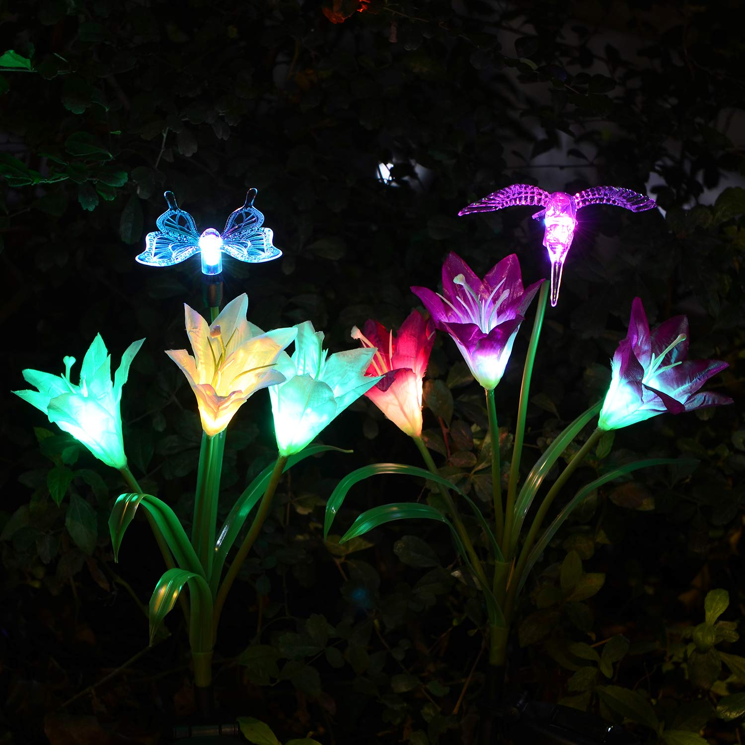 Outdoor Solar Garden Lights, 2 Pack Solar Powered Lights with Lily Flower, Hummingbird and Butterfly, Multi-Color Changing LED Solar Decorative Lights for Garden, Patio, Backyard