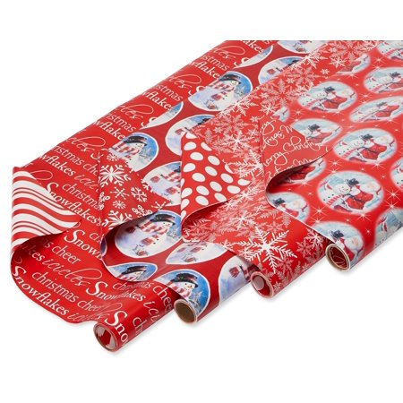 American Greetings Christmas Reversible Wrapping Paper, 4ct, Santa, Snowmen and Snowflakes