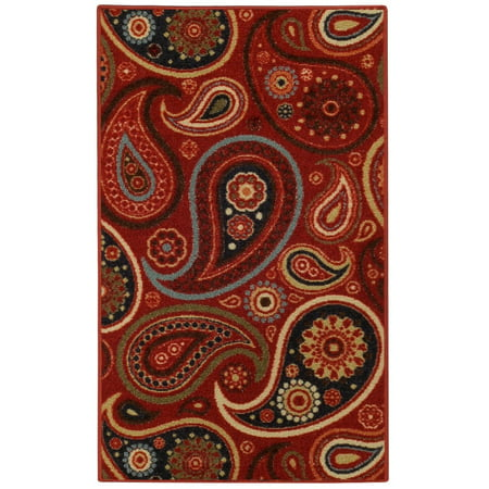 "Anti-Bacterial Rubber Back DOORMAT Non-Skid/Slip Rug 18""x30"" Red Floral Colorful Interior Entrance Decorative Low Profile Modern Indoor Front Inside Kitchen Thin Floor Runner DOOR MATS for Home"