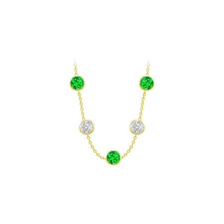 Diamonds The Yard Frosted Emeralds and CZ Necklace on 14K Yellow Gold Bezel Set 75.00 ct.tw 14k Yellow Bezel Set