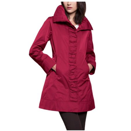 RAINFOREST WOMENS RUCHED FRONT HIDDEN HOOD TRAVEL RAIN JACKET (Carmine,