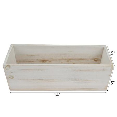 BalsaCircle 14x5-Inch Natural Whitewashed Wood Rustic Rectangular Planter Box Holders Centerpieces - Wedding Party Supplies Party](Wood Planter Boxes)