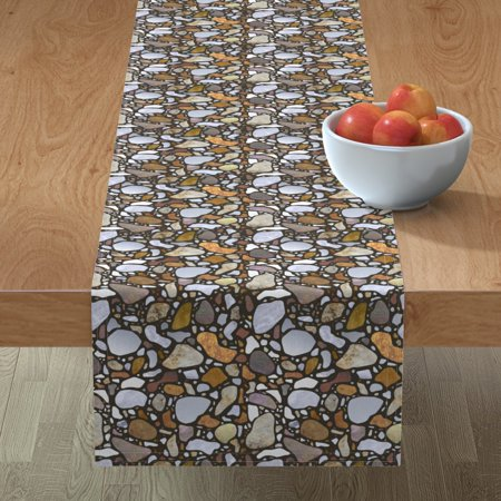Table Runner Terrazzo Mosaic Pebbles Stone Texture Abstract Nature Cotton Sateen ()