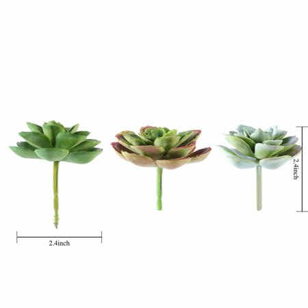 BalsaCircle 3 pcs 3-Inch Assorted Artificial Faux Succulent Picks Echeveria Rosettes Stems Wedding Tabletop Centerpieces Decorations ()