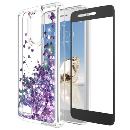KAESAR Quicksand Glitter Case For LG Zone 4 / Tribute Dynasty / Aristo 2 / Rebel 3 / Phoenix 3 / LG K8 2017 / Fortune / Risio 2 / Rebel 2 LTE / Aristo With Tempered Glass Screen Protector (Purple)