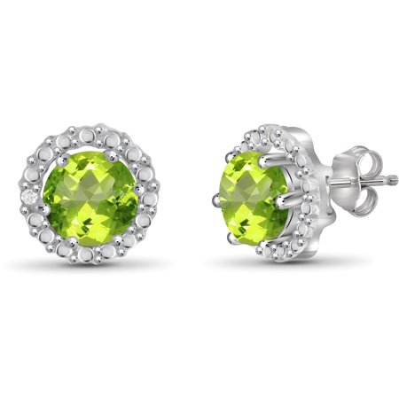 1 1/2 Carat T.G.W. Peridot And White Diamond Accent Sterling Silver Halo Earrings