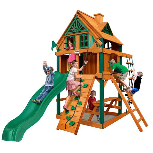 Gorilla Playsets Chateau Tower Treehouse Cedar Playset with Fort Add-On & Natural Cedar Posts