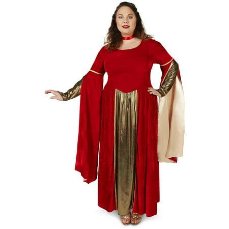 Red Velveteen Renaissance Dress Women\'s Plus Size Adult Halloween Costume