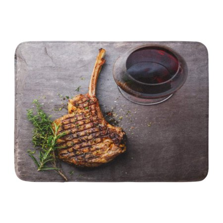 GODPOK Above BBQ Grilled Beef Barbecue Veal Rib Steak on Bone and Red Wine Stone Slate Directly Flat Rug Doormat Bath Mat 23.6x15.7 (Best Wine For Barbecue)