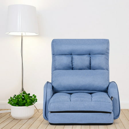 Gymax Blue Folding Lazy Sofa Floor Chair Sofa Lounger Bed with Armrests and Pillow ()