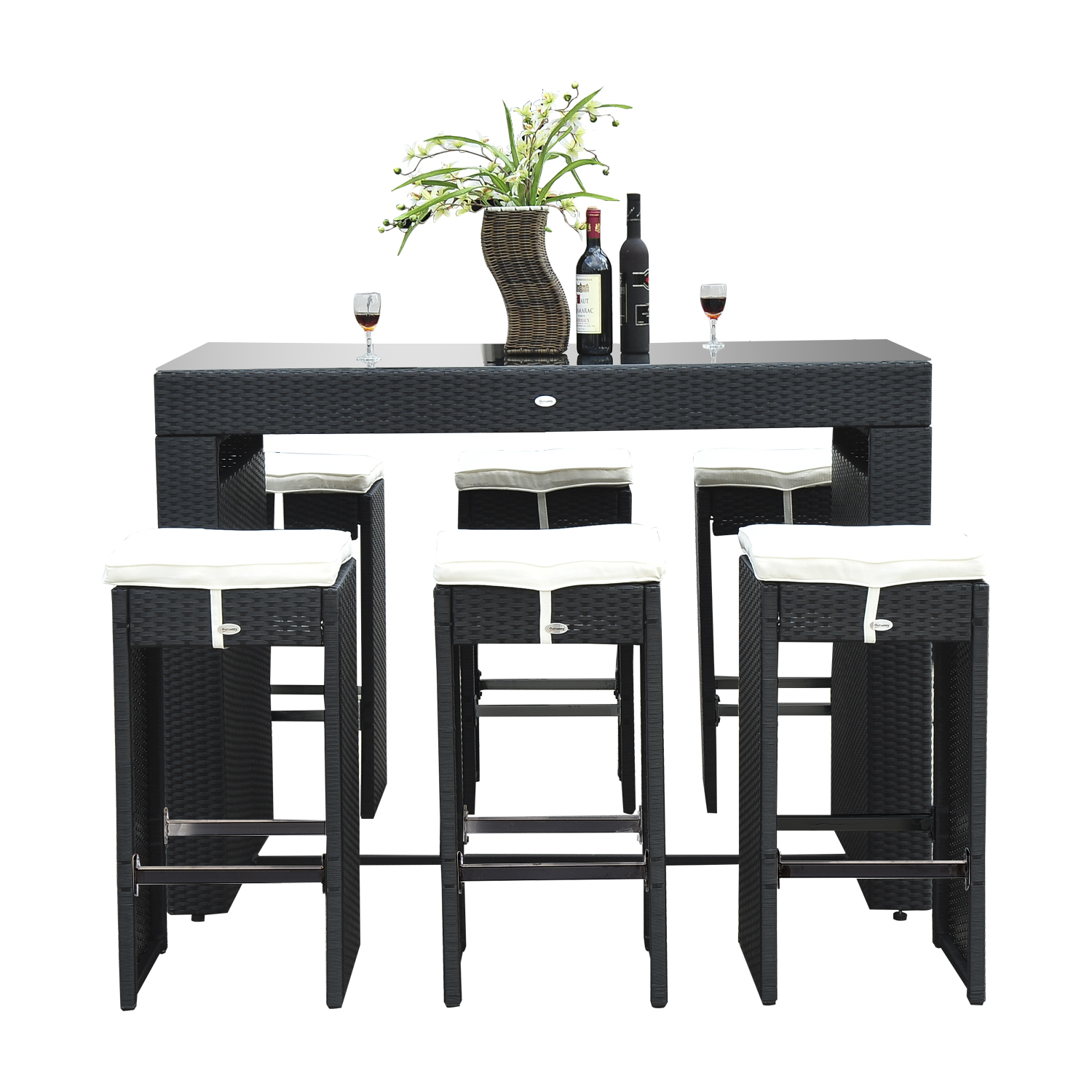 Outsunny 7pc Rattan Wicker Bar Stool Dining Table Set Black