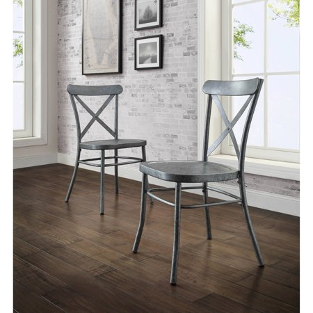 Better Homes And Gardens Bryant 6 Piece Dining Set Vintage Silver Metal Chair Walmart Com