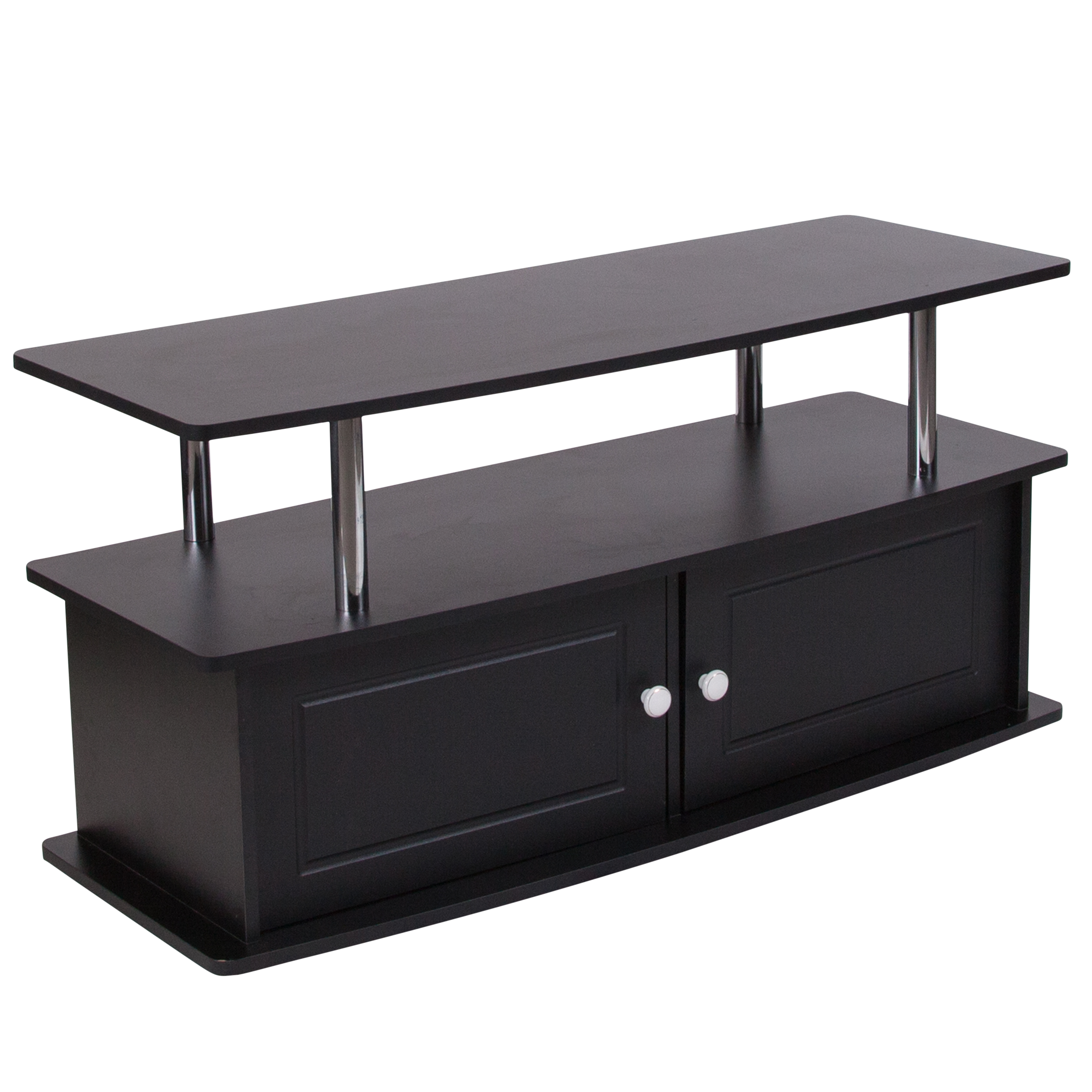 Flash Furniture Evanston Black TV Stand with Shelves, Cabinet and Stainless Steel Tubing