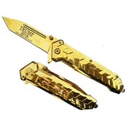 """9"""" GOLD HEAVY DUTY Tanto Blade TRUMP 2016 Commemorative Limited Edition Pocket Knife It's AMAZING!"""