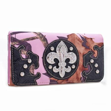 Mossy Pink Camo Tri-fold Wallet w/ Rhinestone Fleur de Lis & Croco Black Trim