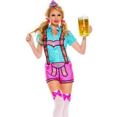 Sky Hosiery Lady Lederhosen Costume 70543 Blue/Pink