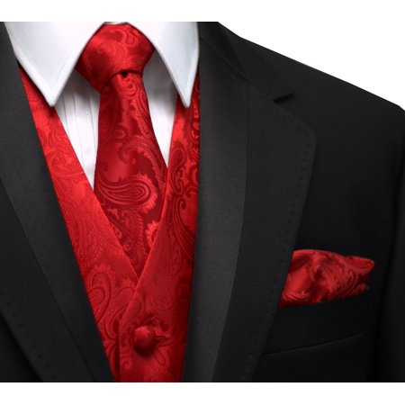 Italian Design, Men's Formal Tuxedo Vest, Tie & Hankie Set for Prom, Wedding, Cruise in Red Paisley