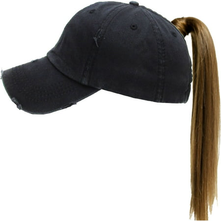Black Ponytail Messy High Bun Adjustable Washed Cotton Baseball (Woman With A Blue Hat)