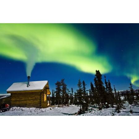 Aurora Over Cabin In The White Mountian Recreation Area During Winter In Interior Alaska Canvas Art - Kevin Smith Design Pics (17 x 11)