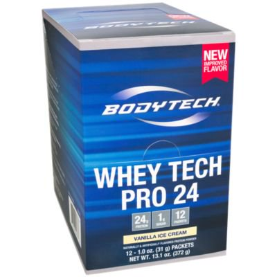 BodyTech Whey Tech Pro 24 Protein Powder  Protein Enzyme Blend with BCAA's to Fuel Muscle Growth  Recovery, Ideal for PostWorkout Muscle Building  Vanilla Ice Cream (12