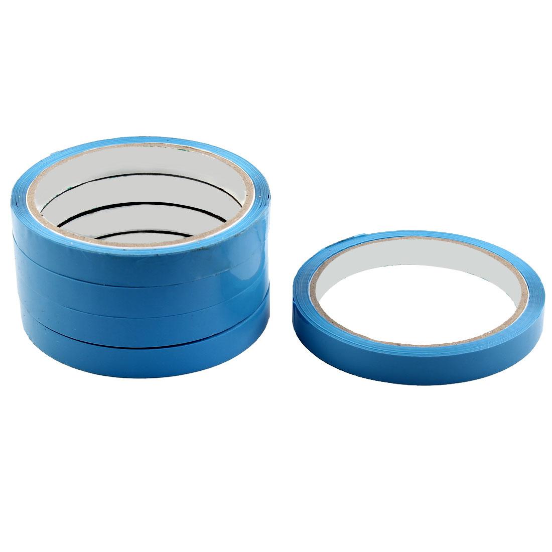 Supermarket PVC Vagetable Fruit Meat Sealing Adhesive Tape Blue 1.2cm Width 5pcs