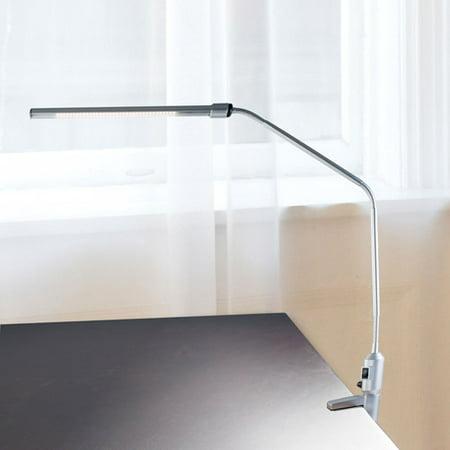 Modern Contemporary LED Clamp Desk Lamp Silver (Includes Energy Efficient Light Bulb) - Lavish Home