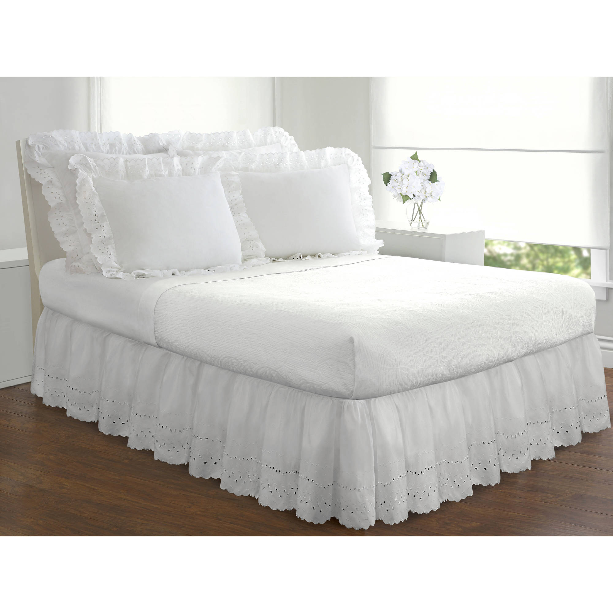 Fresh Ideas Ruffles Eyelet Collection Bed Skirts And Shams Sold Separately Walmart Com Walmart Com