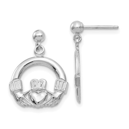 14K White Gold Solid Polished Flat-Backed Claddagh Earrings - image 2 de 2