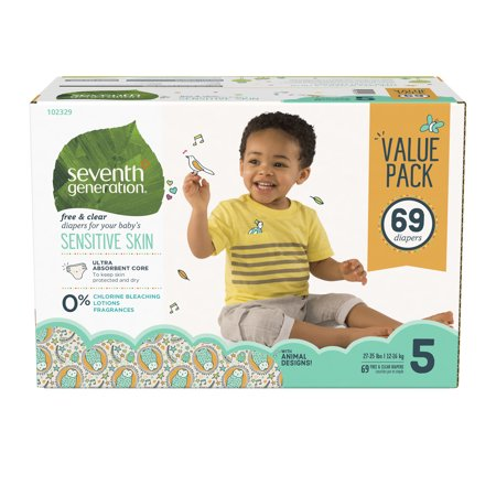 Seventh Generation Free & Clear Baby Diapers with Animal Prints Size 5, 27+ lbs 69 count