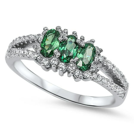 Triple Oval Simulated Emerald Polished Halo Ring .925 Sterling Silver Band Size 5