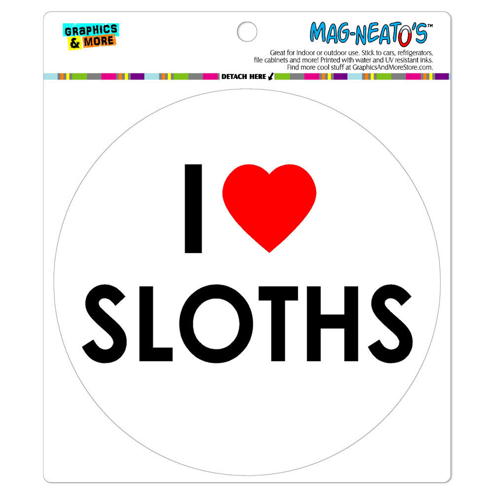 I Love Heart Sloths - Circle MAG-NEATO'S(TM) Car/Refrigerator Magnet