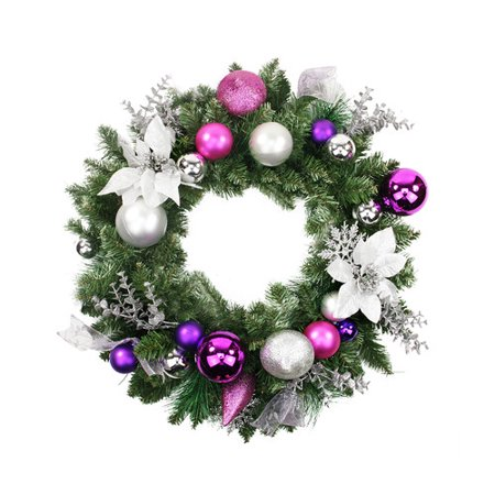 Northlight Seasonal Pre-Decorated Poinsettia, Eucalyptus and Ornament Artificial Christmas 24'' Plastic Wreath](Wreath Decorating Ideas)
